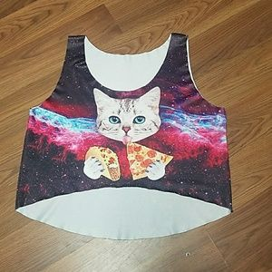 Taco Kitty Pizza Galaxy crop top